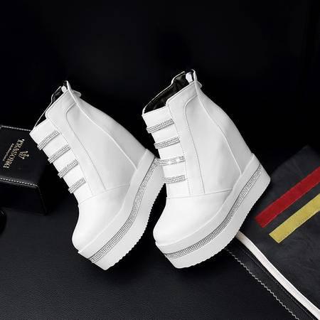 内增高短靴春秋单靴2016冬季新款厚底马丁靴松糕鞋超高跟女靴子潮