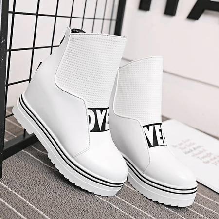 秋冬季坡跟潮短靴厚底平底内增高女靴子中筒靴雪地靴英伦风马丁靴