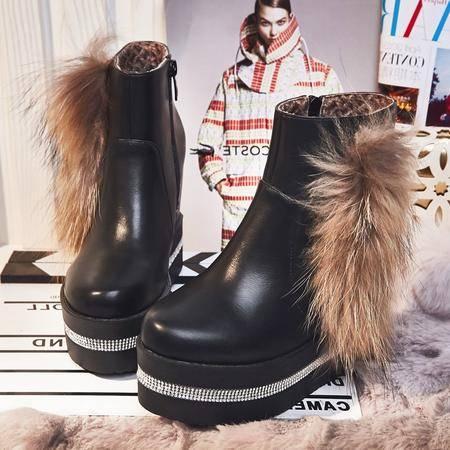 高跟短靴女秋冬新款款内增高圆头松糕底女韩版水钻马丁靴坡跟女鞋