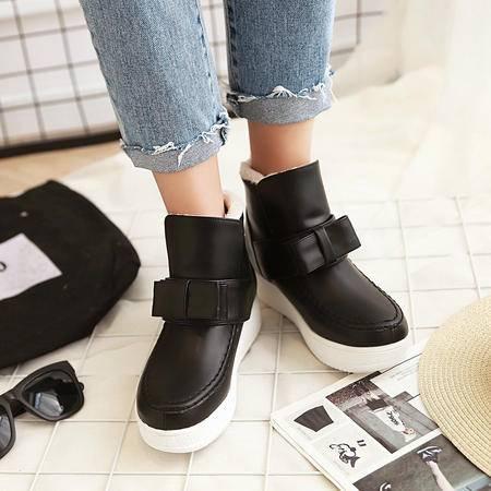 2016冬季韩版甜美蝴蝶结短靴坡跟女靴保暖棉靴学生鞋乖乖鞋马丁靴