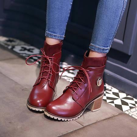 短筒女靴子潮春秋新款单靴韩版粗跟系带马丁靴女士休闲短靴学生鞋