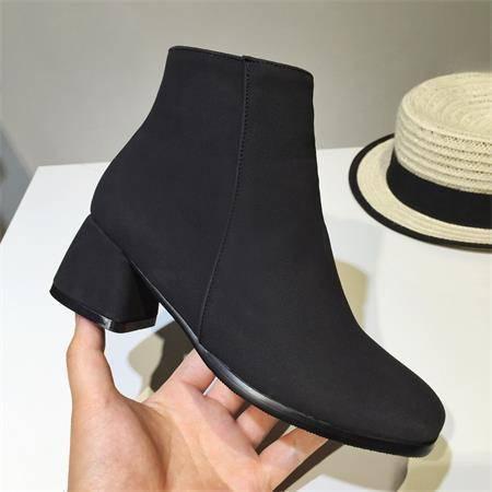 春秋季新款磨砂中跟切尔西短靴粗跟马丁靴女欧美短筒女靴子及裸靴