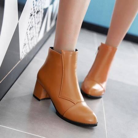 秋冬季新款甜美高跟尖头女靴侧拉链粗跟马丁靴英伦风时尚百搭女鞋