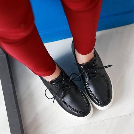 2016韩版夏季内增高小白鞋女漆皮厚底系带学生百搭休闲圆头单鞋女