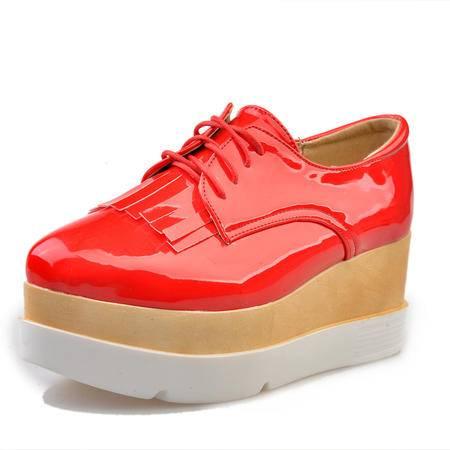 新款夏女鞋松糕底系带休闲平底英伦厚底皮鞋四季尖头坡跟流苏单鞋