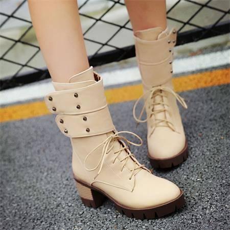 2016秋冬新款马丁靴英伦复古炫酷机车靴个性潮中筒靴防滑粗跟女鞋