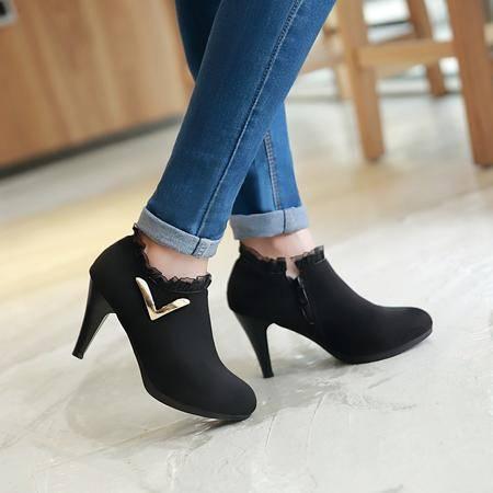 2016新款女式气质时尚上班短靴锥形跟百搭及踝靴圆头磨砂皮OL靴子