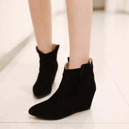 2016秋冬尖头气质韩版内增高平跟磨砂短靴马丁靴绒里套脚女靴