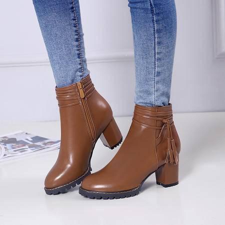 秋冬季欧美小码短靴女粗跟高跟圆头漆皮马丁靴女士女鞋靴子潮