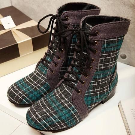 粗跟系带马丁靴子女冬季新款圆头保暖靴短筒超厚防滑欧美时尚休闲