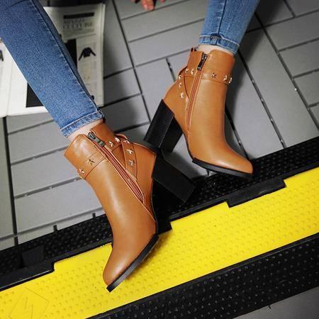 2016秋冬季欧美英伦风高跟尖头马丁靴时尚百搭粗跟短靴女鞋