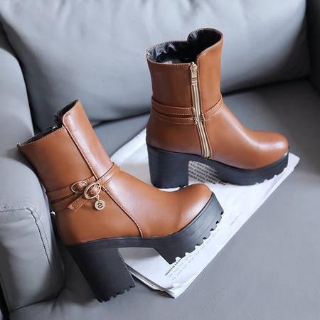 厚底高跟鞋秋冬季马丁靴女短靴女靴子短筒靴粗跟女鞋防水台女中靴