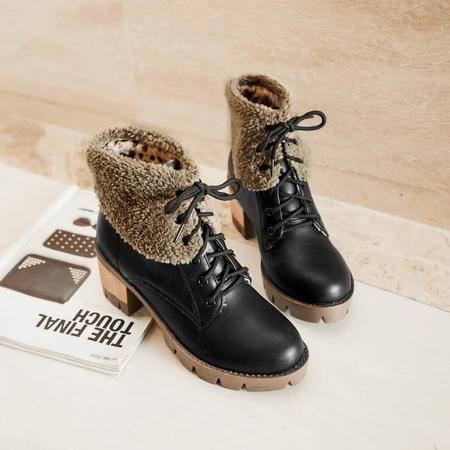 2016时尚欧美马丁靴复古绑带雪地靴厚底防滑女靴英伦加绒冬靴保暖