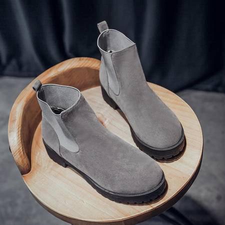 2016新款短靴秋冬季单靴粗跟低跟女鞋学院休闲百搭马丁靴绒面时尚