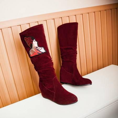 2016冬季新款靴子女鞋内增高长筒靴舒适保暖时尚百搭欧美风磨砂面