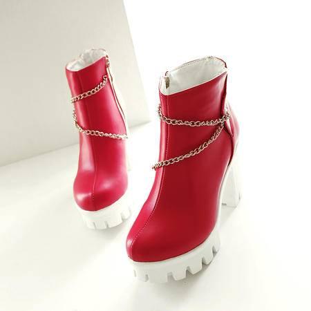 秋冬新款韩版时尚圆头防水台厚底粗跟高跟侧拉链短靴女踝靴马丁靴
