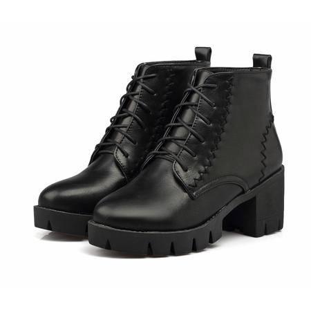 春秋单靴圆头中跟粗跟秋冬系带马丁靴女英伦风女靴学院复古风