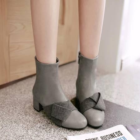 粗跟短靴欧美SW高跟复古尖头磨砂裸靴蝴蝶结套脚马丁靴女靴子