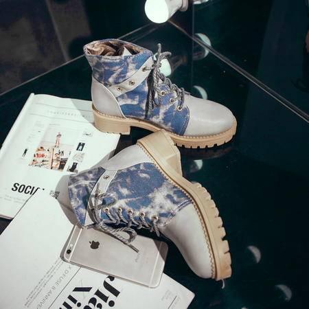 秋季英伦风马丁短靴女单鞋韩版系带单靴粗跟圆头中跟大码女鞋百搭