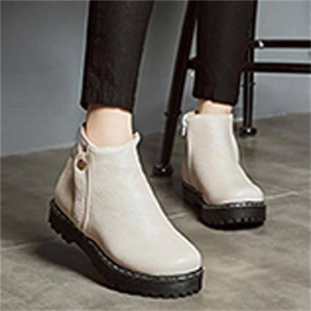 浅棕色牛筋底休闲侧拉链女靴短靴子2016秋冬新款简约纯色马丁靴