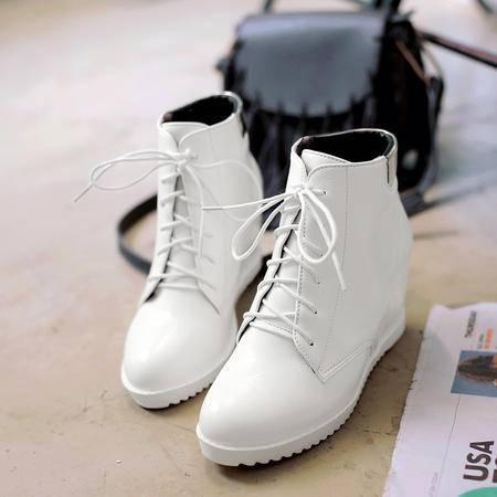 2016秋季新款韩版细带内增高短靴中跟马丁靴学生坡跟女靴子