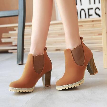 2016新款短靴鞋子女秋粗跟马丁靴短筒高跟鞋女靴皮鞋秋季女鞋靴子