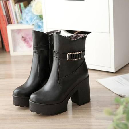 秋冬短靴马丁靴粗跟时尚女靴高跟防水台