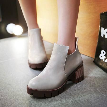 短靴女春秋单靴粗跟马丁靴女英伦风复古单鞋高秋季女鞋