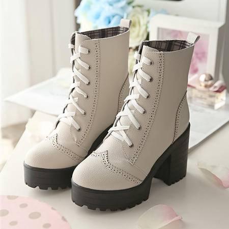 短靴女春秋新款高跟厚底粗跟马丁靴休闲系带马丁靴韩版英伦女鞋
