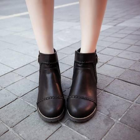 2016年秋季新款女士圆头漆皮低跟马丁靴