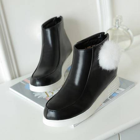 女靴子秋季新款韩版英伦内增高圆头防水台短靴马丁靴百搭女鞋