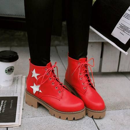 韩版五角星系带马丁靴中跟短筒靴厚底粗跟短靴2016秋冬拼色女靴子