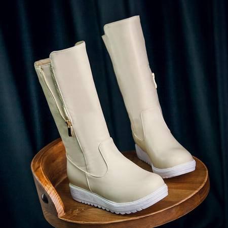 2016秋冬季新款韩版舒适休闲学院风平底女靴子中筒靴马丁靴
