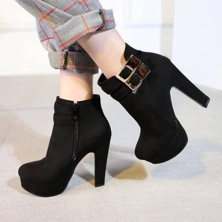 2016秋冬高粗跟短毛绒暖和圆头女靴黑色短靴马丁靴