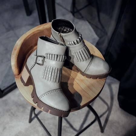 2016秋季高跟短靴方跟新款韩版马丁靴短筒女鞋侧拉链京东圆头靴子