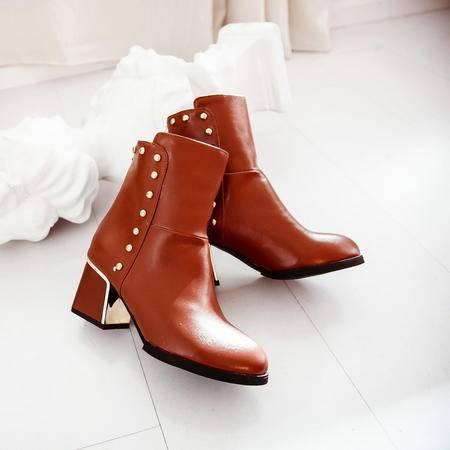 简约粗跟女靴短靴中跟铆钉侧拉链马丁裸靴
