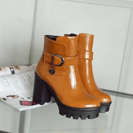 2016秋冬季新款马丁靴 真皮中跟女靴 圆头休闲靴子
