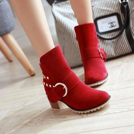 韩版单靴粗跟短靴尖头马丁靴四季靴单靴高跟女靴子春秋磨砂皮裸靴