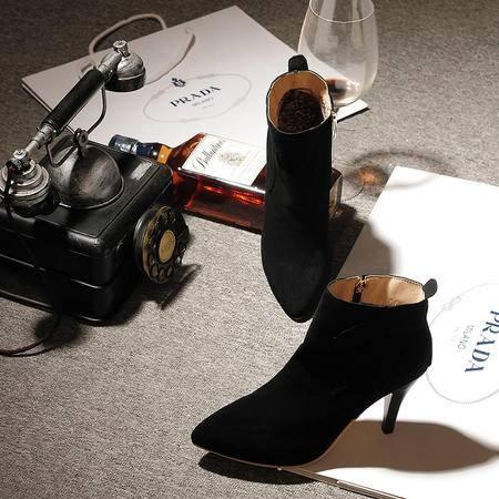 秋冬新款韩版尖头磨砂侧拉链高跟细跟磨砂马丁靴短靴女靴子潮