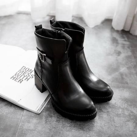 圆头粗跟皮带扣防水台短筒靴女鞋子2016秋冬新款镂空雕花马丁靴女