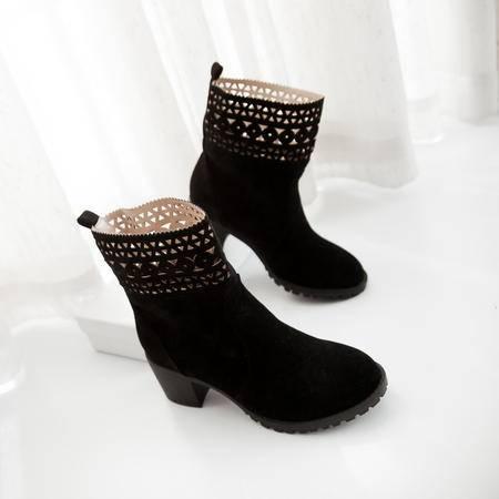 跟鞋踝靴米白色粗跟马丁靴2016春秋女单靴短靴镂空花边冬季高