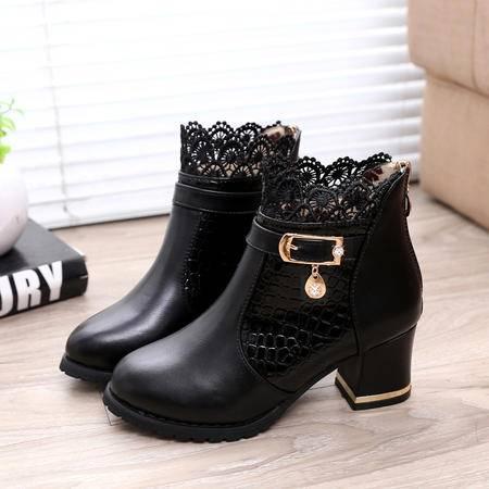 春秋新款马丁靴时尚蕾丝边短靴女优雅舒适粗高跟女靴