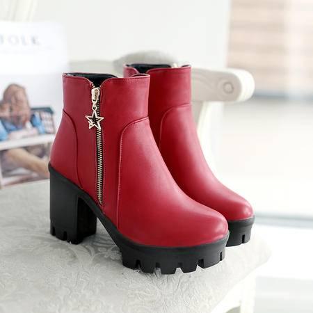 欧美秋冬季16新款女鞋短靴女粗跟高跟鞋尖头马丁靴潮防水台及踝靴