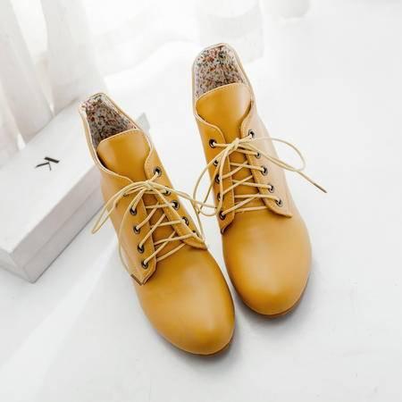 尖头女马丁靴系带学生短靴女靴保暖防滑