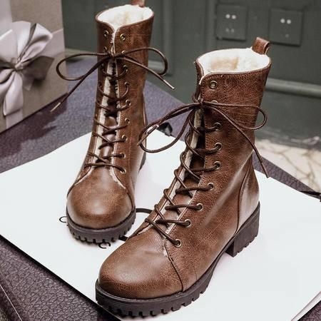 2016秋冬复古英伦风马丁靴做旧机车靴系带加绒粗跟短靴短筒靴鞋