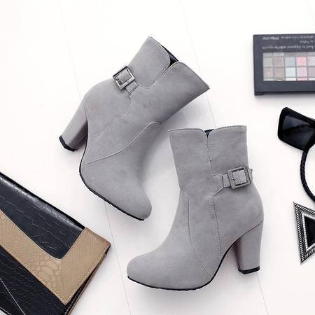 女士磨砂短筒女靴2016新款中跟马丁靴潮女短靴秋冬季靴子粗跟女鞋