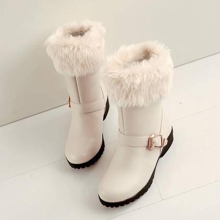 2016雪地靴冬天棉鞋潮低跟短靴子女纯色及裸靴百搭大码女鞋学生鞋