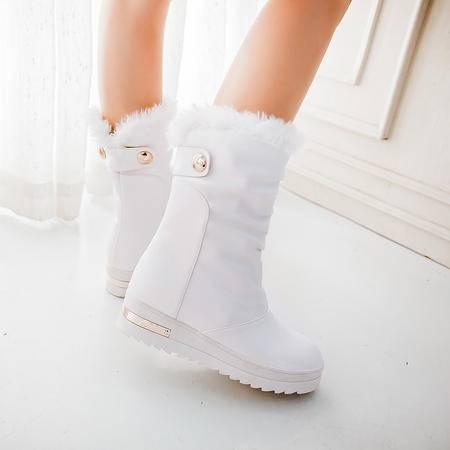 学生平跟短靴女2016冬季新品甜美蝴蝶结厚底女鞋松糕底套筒雪地靴