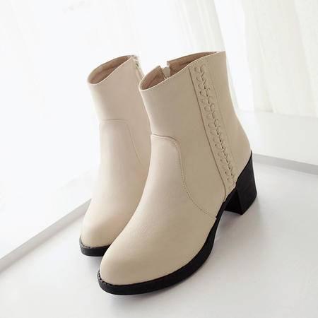 2016秋冬季新款尖头高跟短筒靴粗跟马丁靴百搭气质时尚韩版女靴子