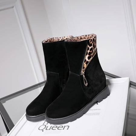 单靴子女鞋春秋冬季短靴磨砂平底马丁平跟内增高40潮41裸靴